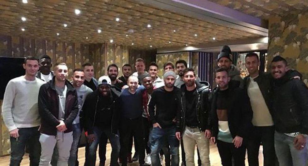 Plantel del Barcelona se reunió en el restaurante de Lionel Messi. (bellavistabcn)