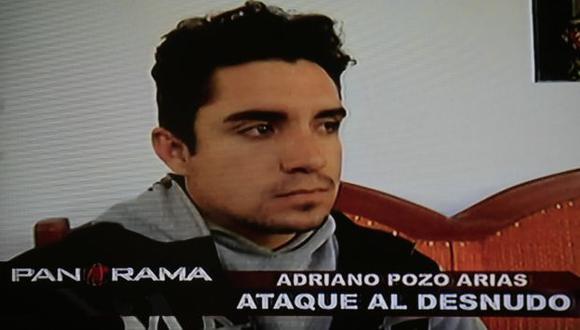 Adriano Pozo Arias, el sujeto que, estando completamente desnudo, golpeó y arrastró de los cabellos a Cindy Arlette en un hostal de Ayacucho (Tome).