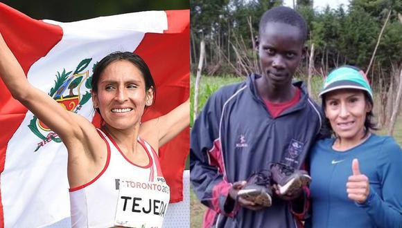 """Gladys Tejeda le regaló zapatillas a deportista keniano de bajos recursos: """"Espero pueda cumplir su sueño de ser campeón"""""""