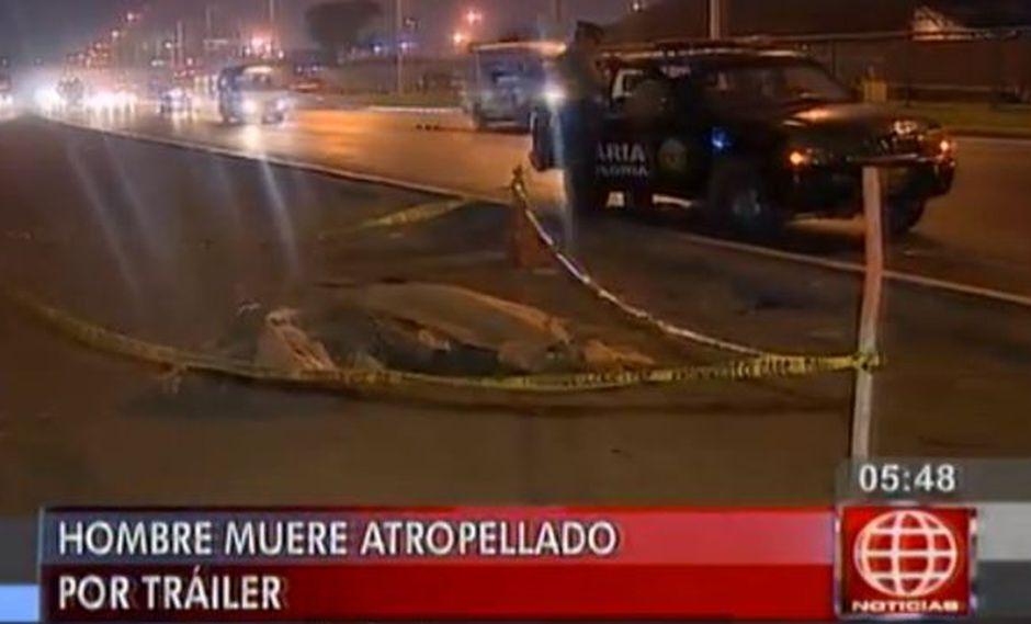 Hombre murió arrollado por tráiler en la Av. Nésto Gambetta. (América Noticias)