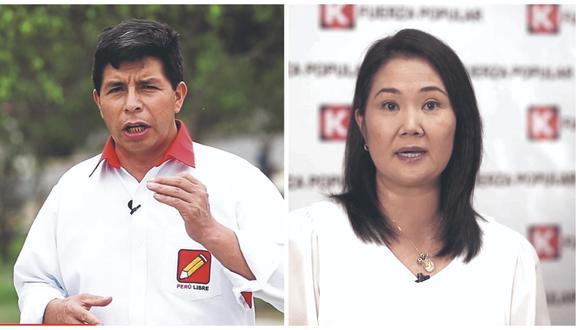 Pedro Castillo y Keiko Fujimori son los candidatos que pasarán a la segunda vuelta electoral, según los resultados de la ONPE. (Fotos: GEC)