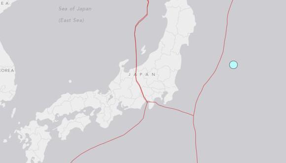 Mapa del epicentro del último terremoto en Japón. (USGS)