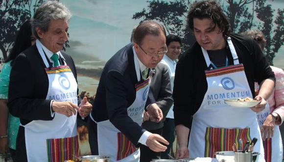 Manuel Pulgar-Vidal, Ban Ki-moon y Gastón Acurio en el marco de la COP20. (Andina)
