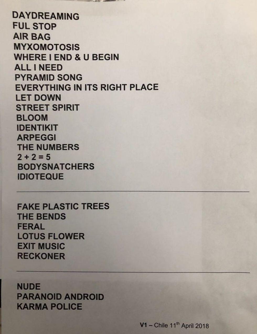 Set List de RadioHead en Chile. (Twitter)