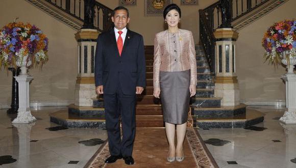 Humala y la premier Shinawatra anunciaron el acuerdo. (Difusión)