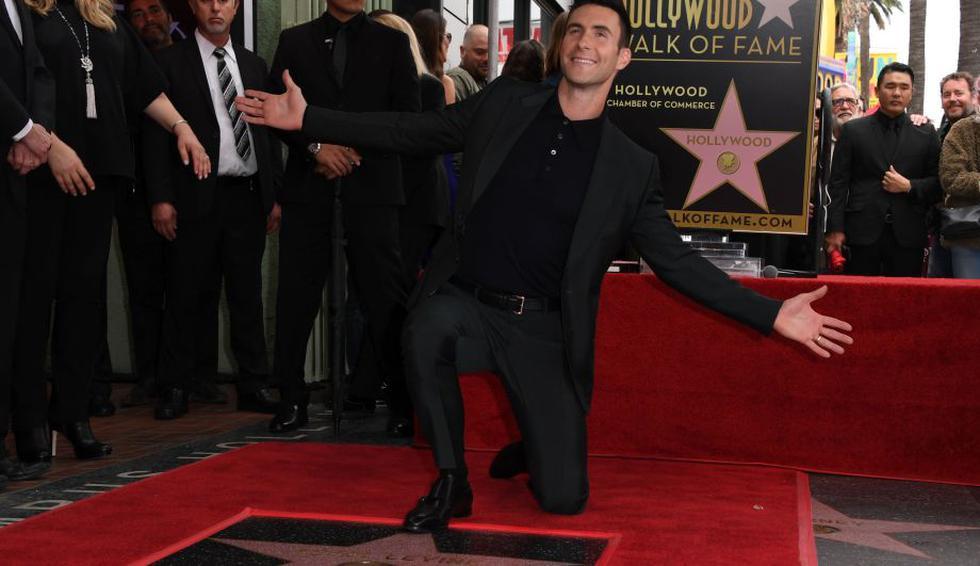 Adam Levine ya tiene su propia estrella en el Paseo de la Fama. (AFP)
