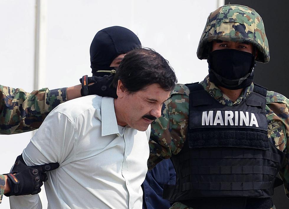 En esta foto de archivo tomada el 22 de febrero de 2014, Joaquín Guzmán Loera es presentado a la prensa en la Ciudad de México. (Foto: AFP)