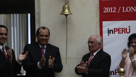 MISIÓN. Ministro Castilla da el campanazo de presentación de inPeru en la Bolsa de Valores. (Rafael Cornejo)