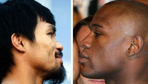 Manny Pacquiao (izq.) quiere quitarle el invicto a Floyd Mayweather. (AFP)