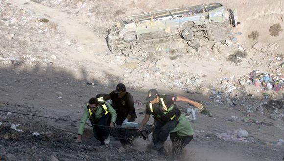 ZONA DE RESCATE. Unidad cayó a un abismo de unos 150 metros. (Heiner Aparicio)