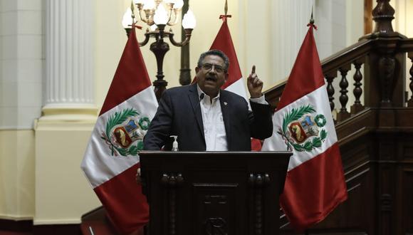 Conferencia de prensa del presidente del congreso Manuel Merino. Fotos Cesar Campos / @photo.gec