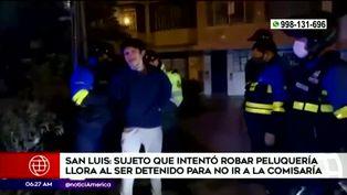 Delincuente llora al ser detenido en San Luis
