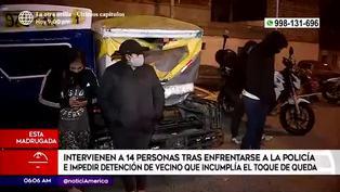El Agustino: Intervienen a 14 personas por enfrentarse a policías