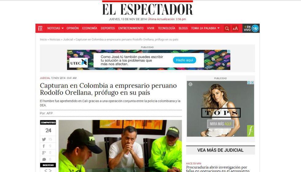 La noticia de la captura de Rodolfo Orellana en Colombia rebotó en varios medios. (El Espectador)