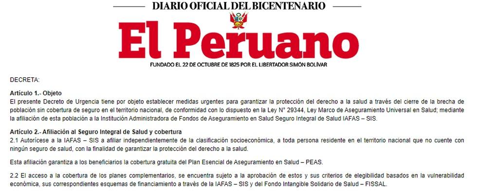 Decreto publicado hoy en El Peruano.