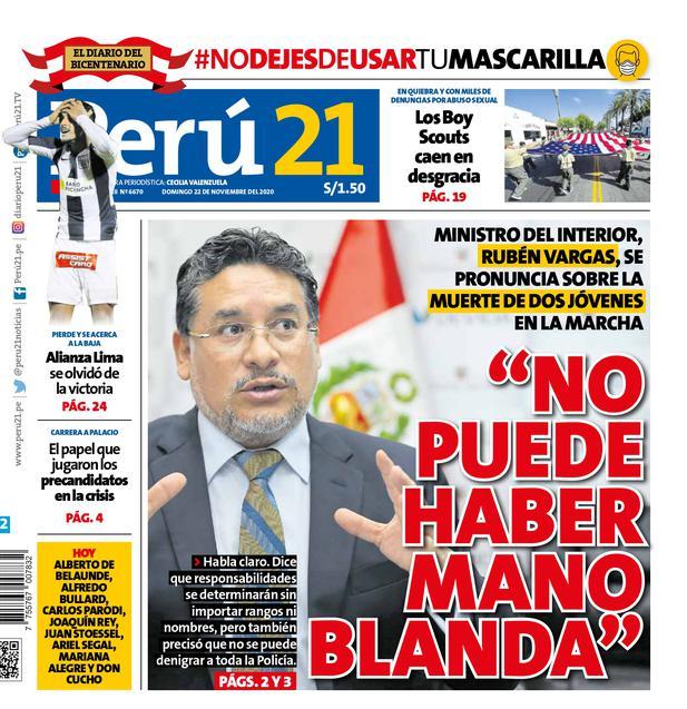 """""""No puede haber mano blanda"""" (Impresa 22/11/2020)"""