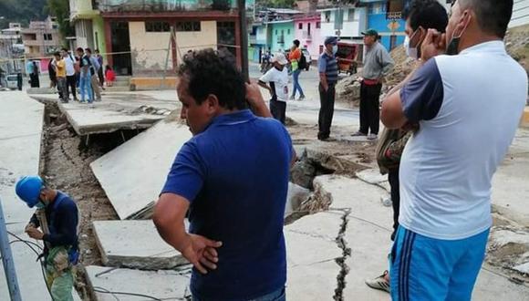 Cajamarca:  las lluvias ocasionaron el hundimiento de 40 metros en el pavimento y la afectación de algunas viviendas aledañas del jirón Amazonas. (Foto: Coer Cajamarca)