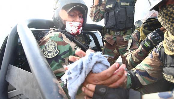 Ica: efectivos policiales resultan heridos durante las protestas en la Panamericana Sur (Foto: GEC)