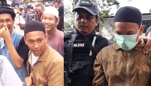 Indonesia: Durante protesta amenazó con decapitar al presidente Joko Widodo, su video se hizo viral y terminó detenido. (Captura - Twitter @detikcom)