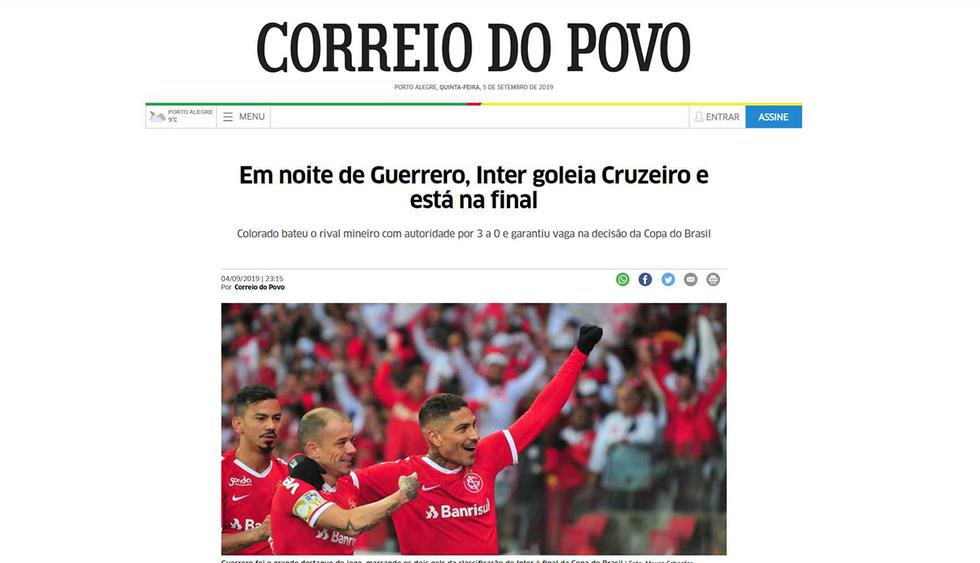 En Brasil, todos hablan de Paolo Guerrero y su doblete ante Cruzeiro. (Foto: Correio do Povo)