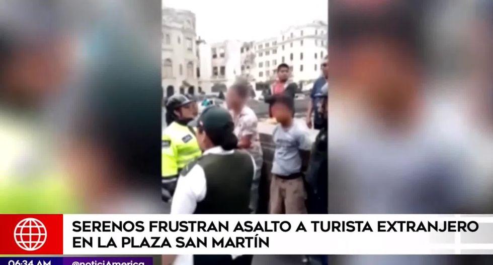 Los hampones fueron llevados a la comisaría de Alfonso Ugarte para las investigaciones correspondientes. (Foto captura: América Noticias)