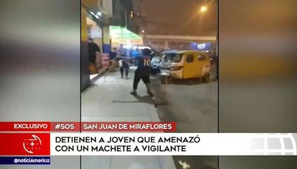 Agentes policiales que circulaban por la zona capturaron al joven de 19 años y fue trasladado a la comisaría del sector, donde su permanencia continúa. (Foto: 'América Noticias')
