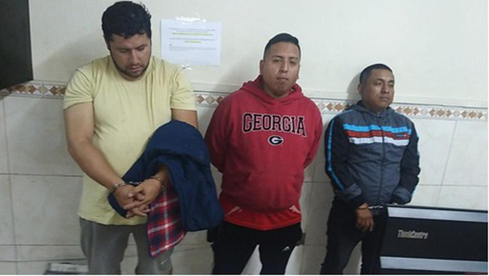 Elías Castro Sánchez (35), Rolando Curico Canaquiri (31) y Alberto Ramos Grimaldo (25) son acusados por la policía de protagonizar el hecho. (Foto: Difusión PNP)