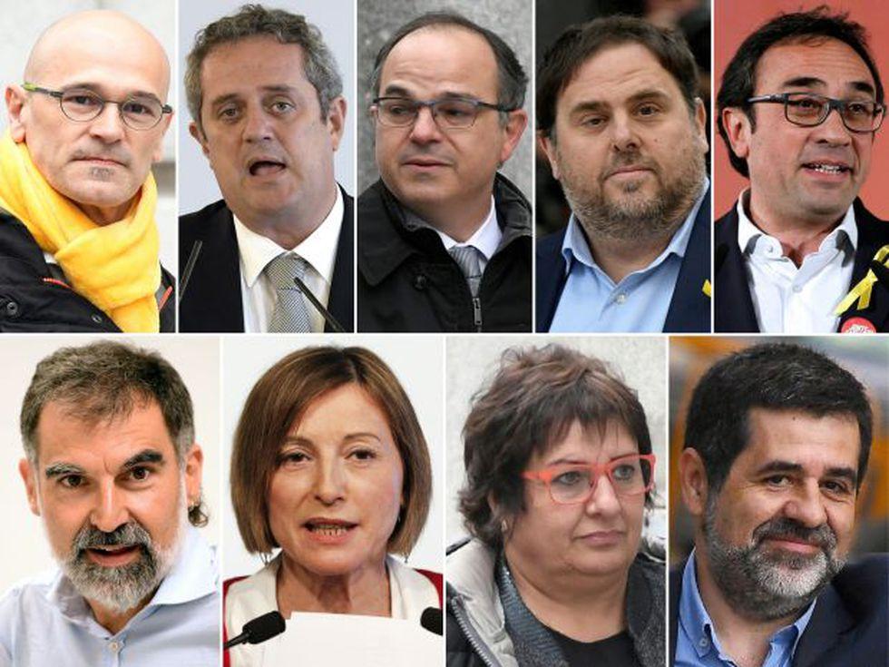 Líderes separatistas catalanes encarcelados: Oriol Junqueras, Raul Romeva, Joaquim Forn, Jordi Turull, Dolors Bassa, Josep Rull, Jordi Cuixart, Carme Forcadell y Jordi Sanchez. (Foto: AFP)