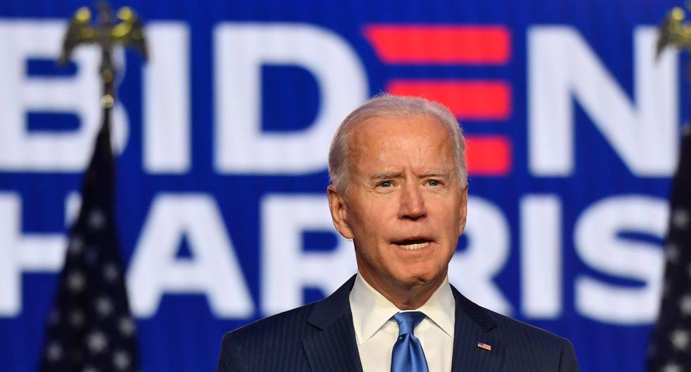 Joe Biden habló la noche del viernes desde el Chase Center de Wilmington, en Delaware. (ANGELA WEISS / AFP).