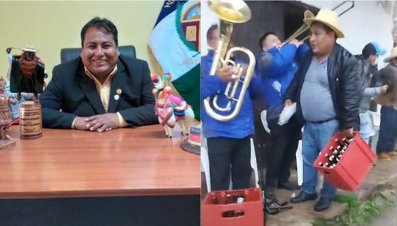 Huancavelica: la autoridad edil fue captado sin mascarillas y sin respetar el distanciamiento social. (Foto: Captura de video)
