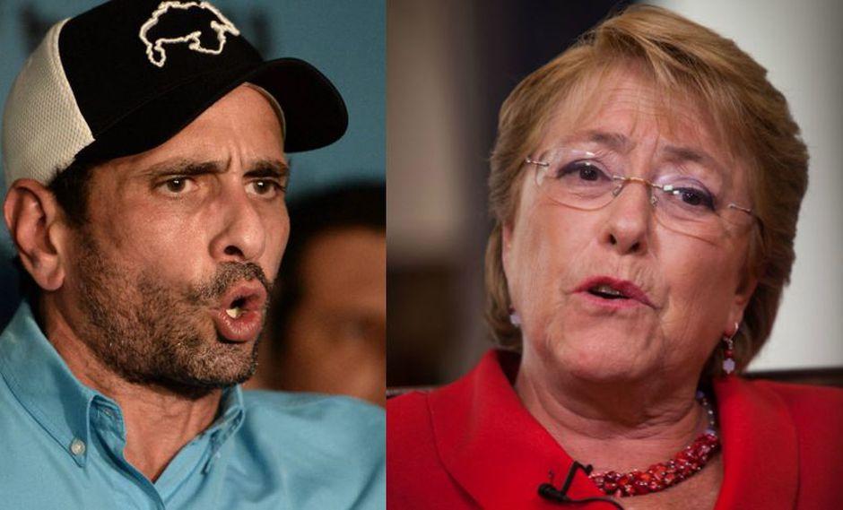 """Henrique Capriles pide a Michelle Bachelet no dejarse """"seducir"""" por el Gobierno de Nicolás Maduro. (Foto: AFP)"""
