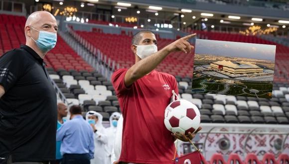 Gianni Infantino inspeccionó avances de cara al inicio del mundial de Qatar2022.