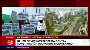 Vecinos protestan contra construcción del Parque Bicentenario en Miraflores