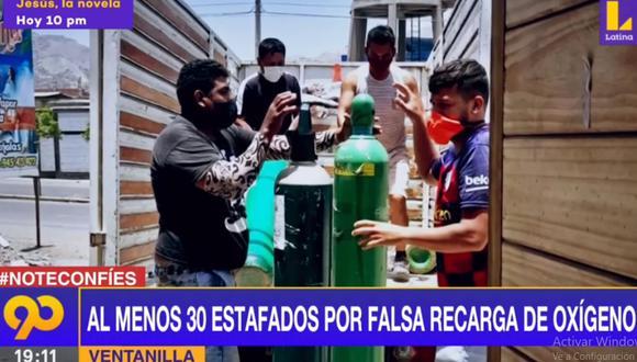 Las personas estafadas exigen que les devuelven sus balones de oxígeno para salvar las vidas de sus familiares afectados por el COVID-19. (Latina)