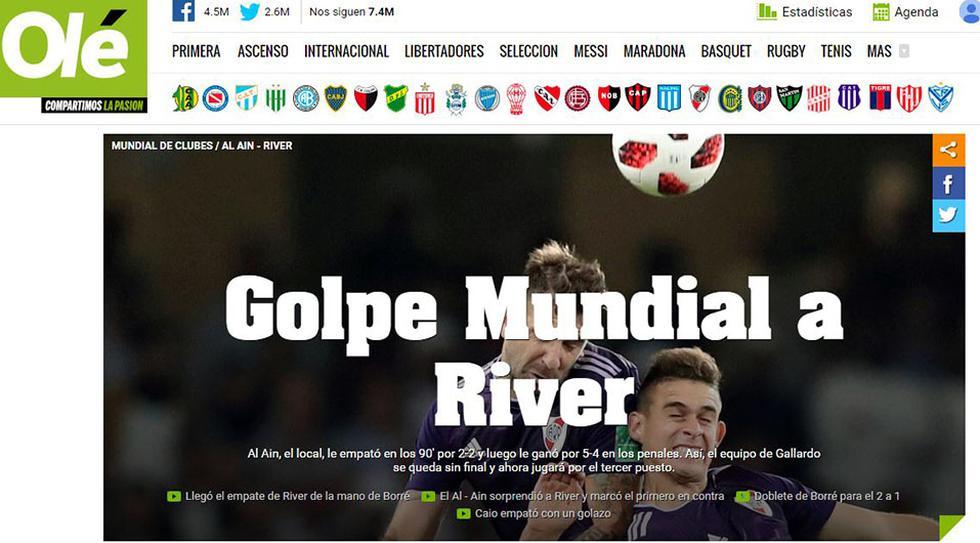 Olé, el diario deportivo más importante de Argentina, tituló así la eliminación de River Plate del Mundial de Clubes.