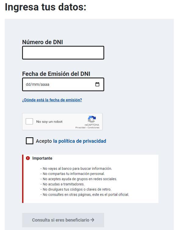Así luce el portal de consulta para saber si recibirá el Bono Yanapay Perú de S/ 350.