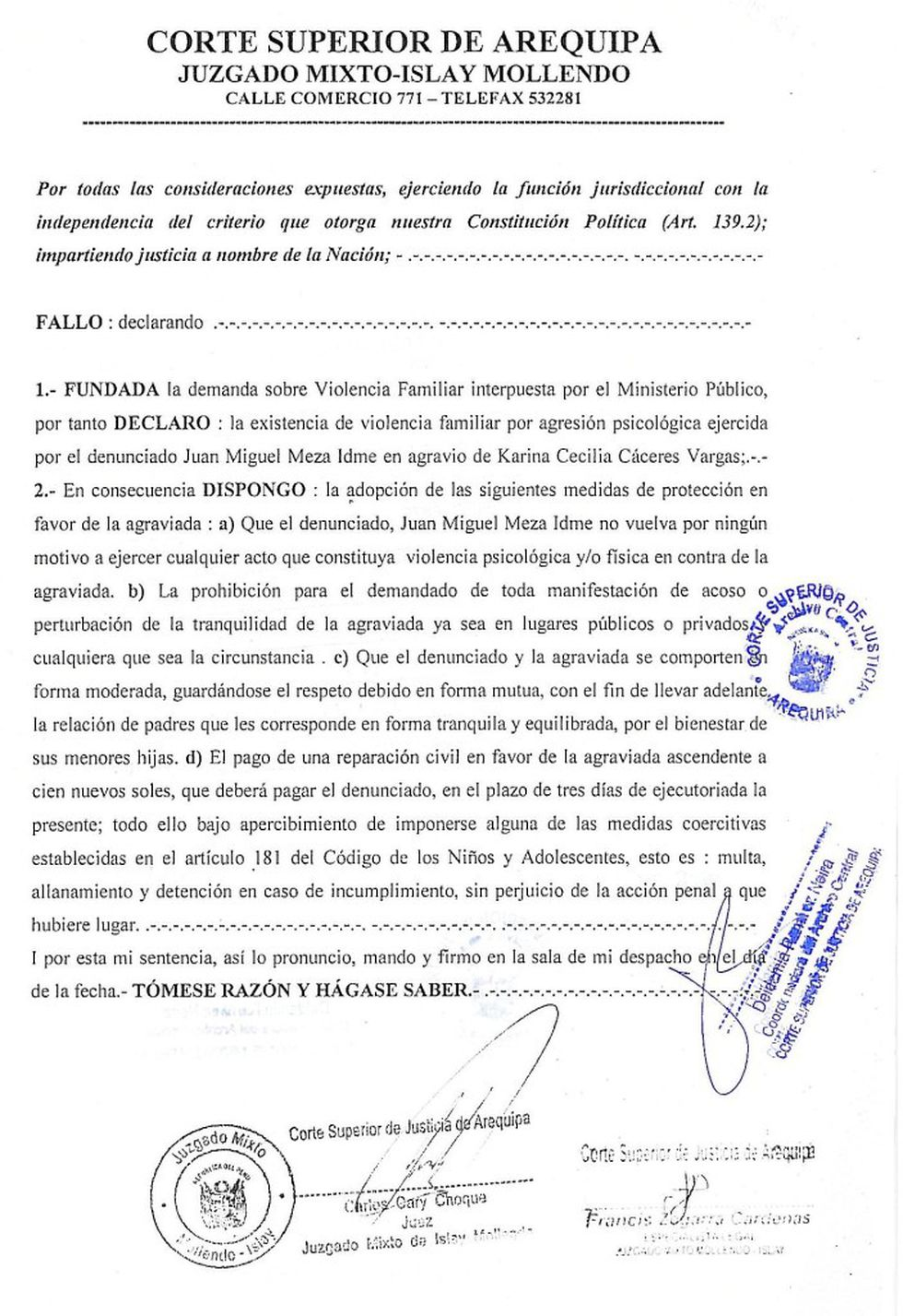 Sentencia contra Miguel Meza.