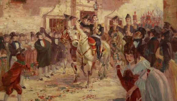 """Cuadro """"Ingreso de José de San Martín a Lima"""" de José Alcántara de la Torre (1921). En el Museo Nacional de Arqueología, Antropología e Historia del Perú. (Foto: Miguel Bellido / El Comercio)"""