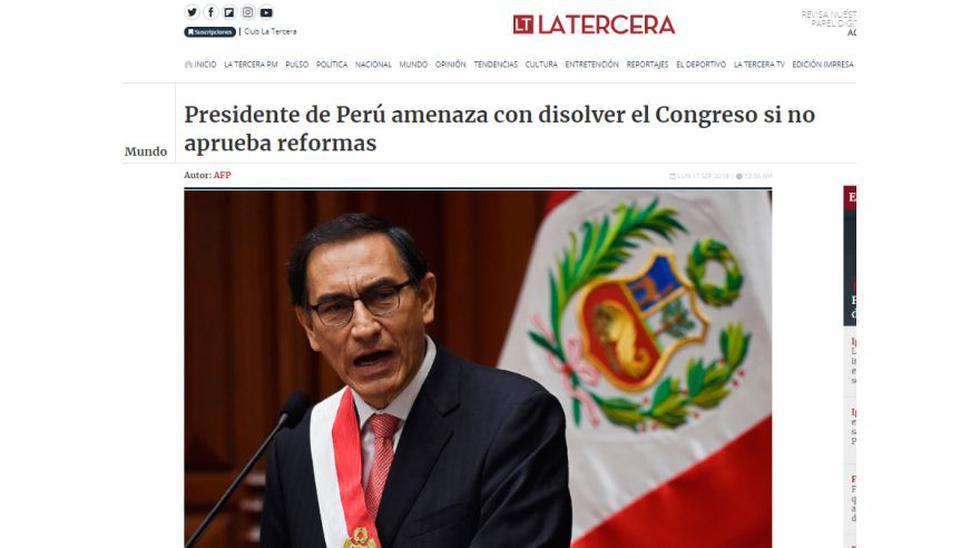 Así informaron medios del mundo el planteamiento de la cuestión de confianza del presidente Martín Vizcarra al Congreso de la República. (Fuente: La Tercera - Chile)