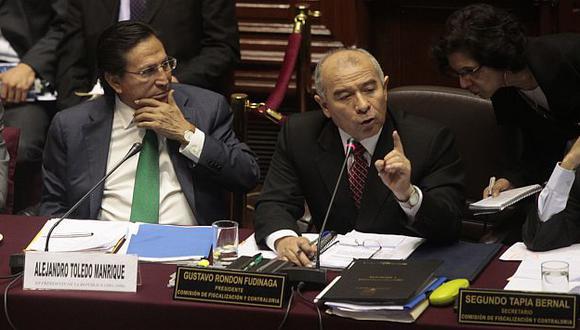 Toledo y Rondón en la última sesión de Fiscalización en la que estuvo el exmandatario. (Perú21)