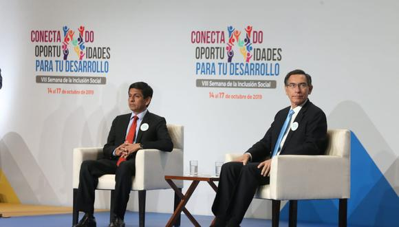 El ministro Jorge Meléndez participó junto al presidente Martín Vizcarra en la inauguración de la Semana de la Inclusión Social. (Manuel Melgarejo/GEC)