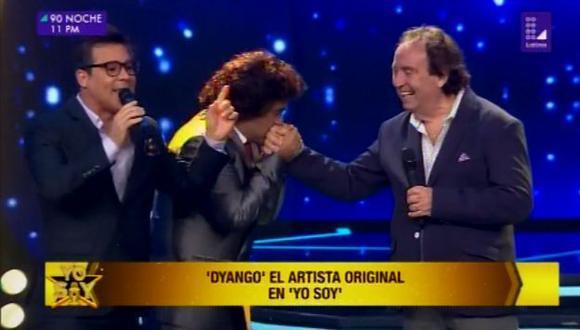 """""""Yo nunca he visto a alguien que me imitara tan bien como él"""", manifestó el cantante a su llegada a """"Yo soy"""".  (Foto: Latina)"""