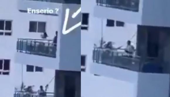 De terror: Hombre columpia a su hija desde balcón de su departamento en el sexto piso