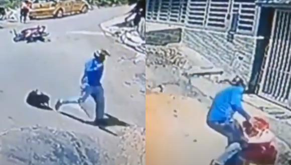 Un video viral muestra el valeroso acto de un motociclista que salvó a un bebé de hacerle un grave daño. | Crédito: La Chiva Alerta / YouTube.