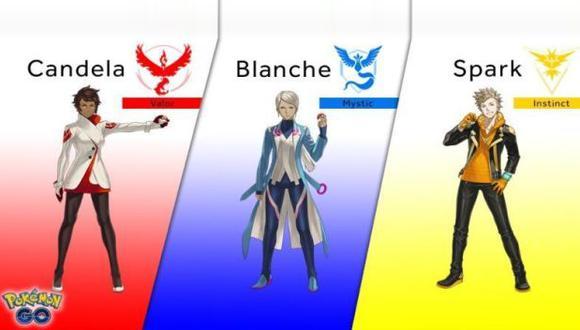 Candela, Blanche y Spark son los líderes de equipo en Pokémon Go.