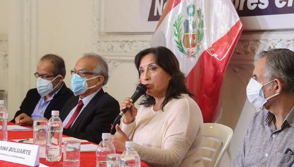 Dina Boluarte, candidata a la vicepresidencia, participó en conferencia de Perú Libre. (Foto: Perú Libre)