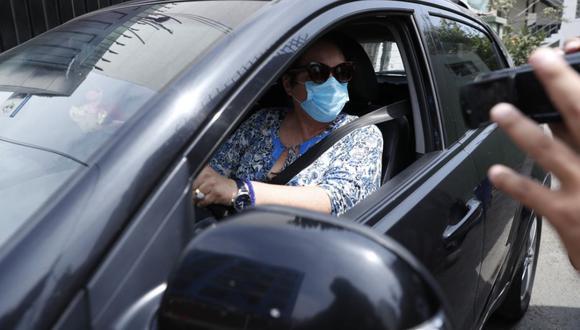 Rosario Sasieta acudió a la comisaría de Miraflores tras el accidente de tránsito. (Foto: Hugo Pérez/ @photo.gec)