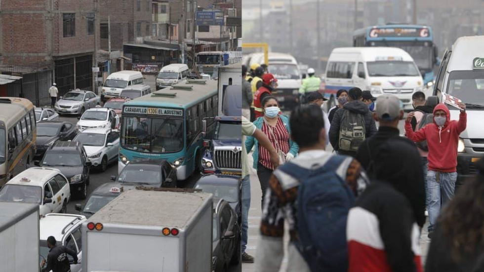 En el día 4 de la cuarentena focalizada, los principales paraderos de la capital lucieron abarrotados y las personas siguen sin respetar el distanciamiento social. (Foto: Cesar Campos / GEC)