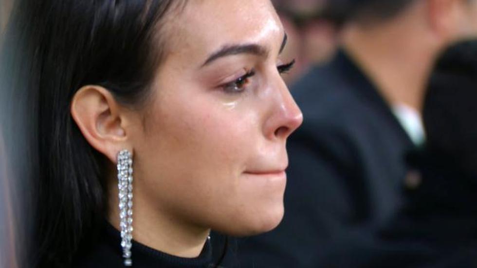 Georgina Rodríguez lloró de emoción por el triplete de Cristiano Ronaldo ante el Atlético Madrid. (Captura de video)