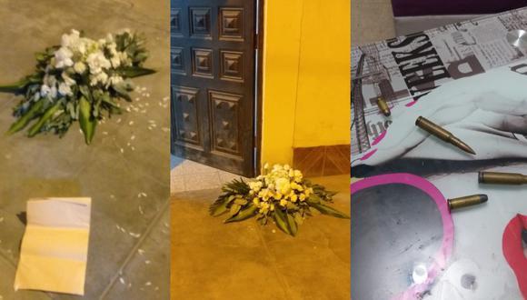 Chiclayo: Desconocidos dejan arreglo floral y cuatro balas en puerta de vivienda (Foto: PNP)